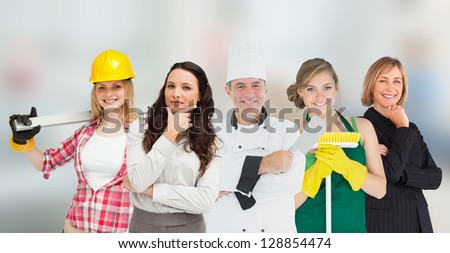 Smiling workers of various industries - stock photo