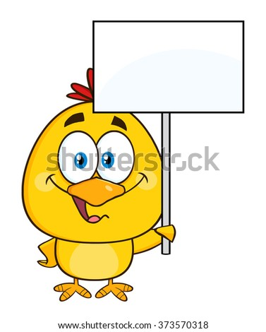 Smiling Yellow Chick Cartoon Character Holding A Blank Sign. Raster Illustration Isolated On White - stock photo