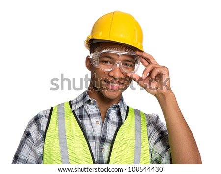 Smiling Young African American  Construction Worker Holding Hardhat Portrait Isolated