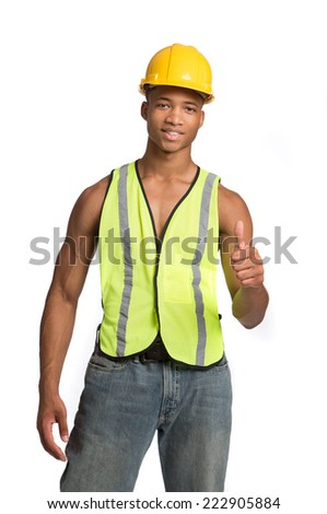 Smiling Young African American  Construction Worker Thumbs up Portrait Isolated - stock photo