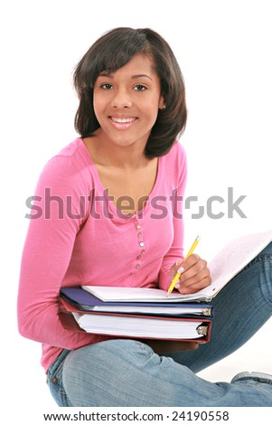 Smiling Young African American Female Student Studying School Work on Isolated Background
