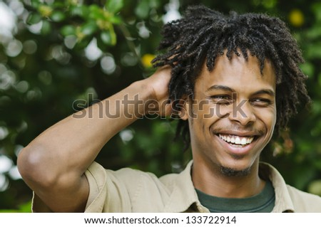 Smiling Young African American Man - stock photo