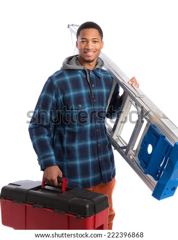 Smiling Young African American  Worker Holding Toolbox and Ladder Isolated on White Background - stock photo
