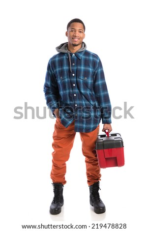Smiling Young African American  Worker Holding Toolbox Isolated on White Background - stock photo