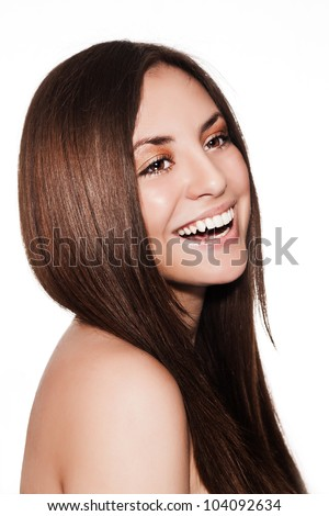 smiling young beautiful woman with healthy long natural shiny hair , make-up