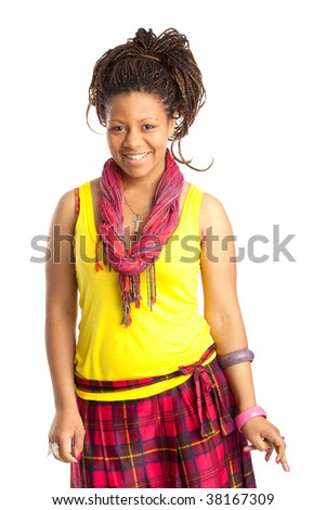 smiling young black woman in the beautiful clothes