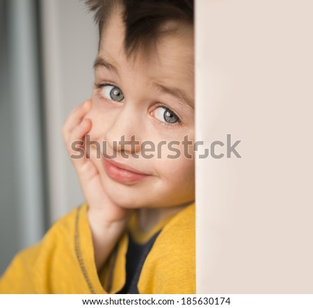 Smiling young blond boy  - stock photo
