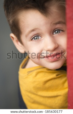 Smiling young blond boy