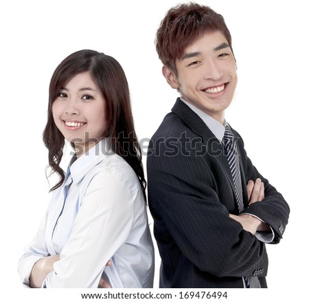 smiling young business couple people back to back .  - stock photo
