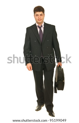 Smiling young business man going to work and holding bag isolated on white background - stock photo