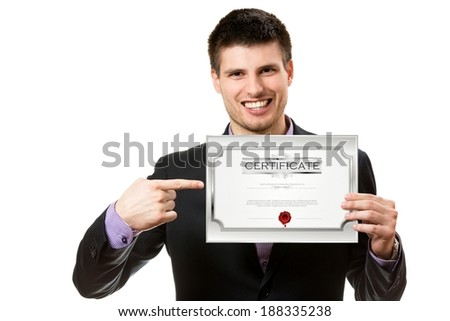 Smiling young business man,showing a certificate. - stock photo