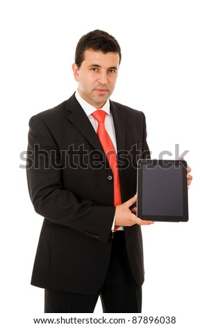 Smiling young business man with tablet pc. Isolated over white background