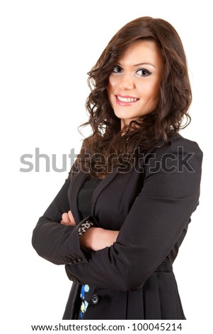 smiling young business woman in black jacket, with folded arms, white background
