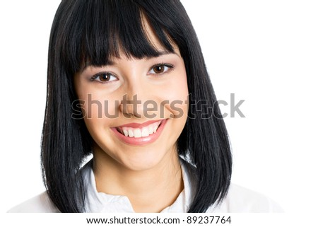 Smiling young business woman. Isolated over white background