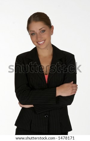Smiling Young Business Woman with Arms Folded - stock photo