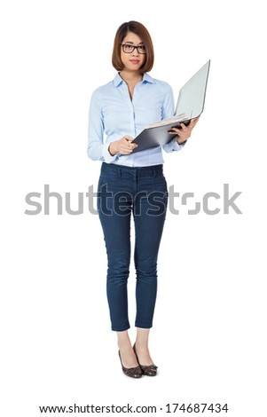 smiling young business woman with folder portrait isolated