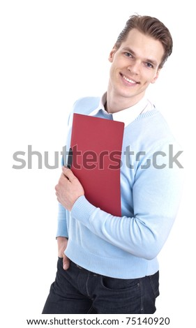 Smiling young businessman holding some documents, isolated on white