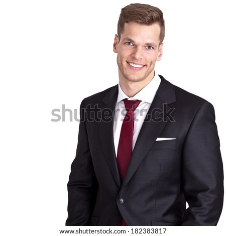 Smiling young businessman - isolated on white background and much copyspace for own text