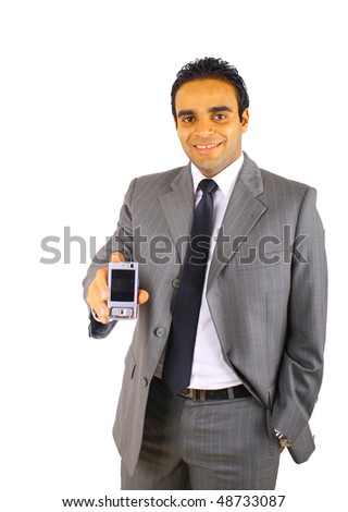 Smiling young businessman with mobile phone -  isolated on white