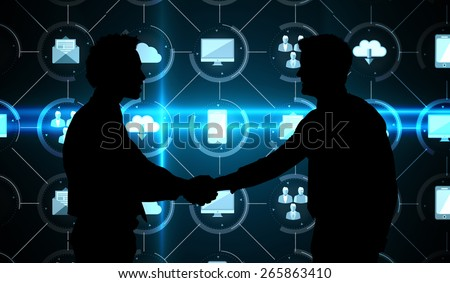 Smiling young businessmen shaking hands in office against apps interface - stock photo