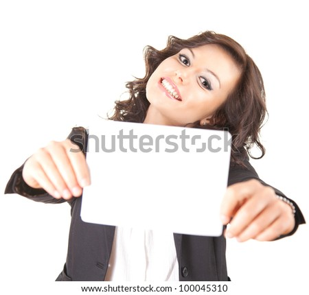 smiling young businesswoman with blank, white background