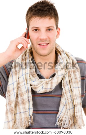 Smiling young casual man on the phone, isolated on white - stock photo