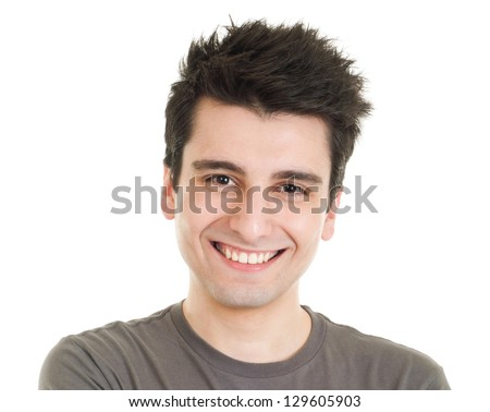 smiling young casual man portrait isolated on white background