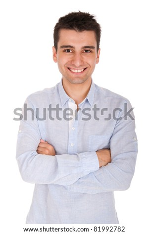 smiling young casual man portrait, isolated on white background