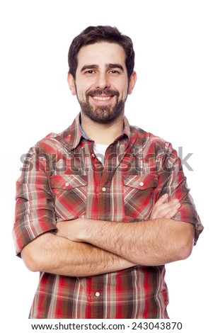 Smiling young casual man with arms crossed, isolated on white background - stock photo