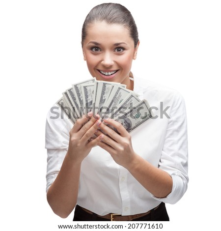 smiling young caucasian business woman in white blouse holding money isolated on white - stock photo