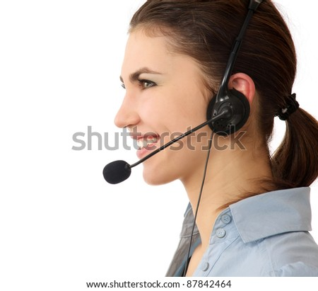 smiling young customer service girl with headset isolated on white background - stock photo