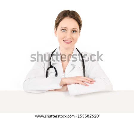 Smiling young doctor woman with a stethoscope isolated on a white background