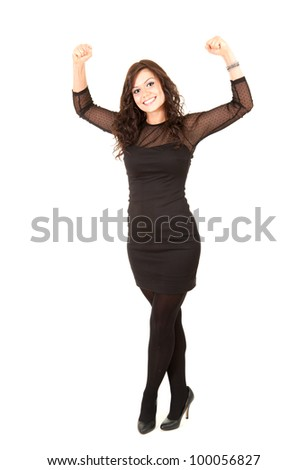 smiling young elegant girl in black dress, full length, white background