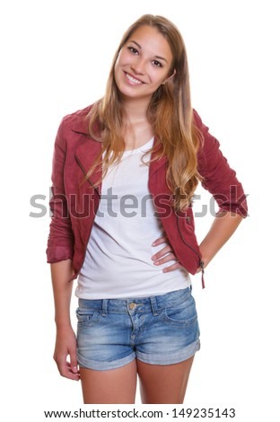 Smiling young girl in short pants