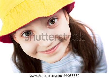 Smiling young girl looking at camera - stock photo