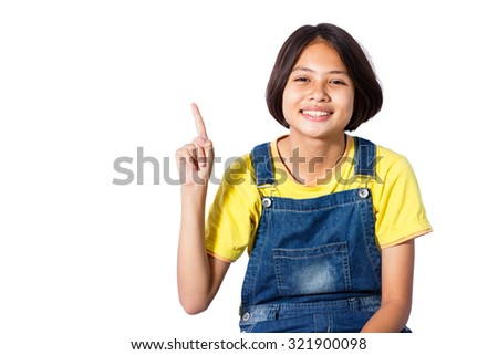 smiling young girl up her finger with isolated background