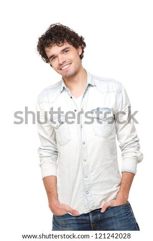Smiling young handsome male model isolated on white background - stock photo
