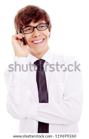 Smiling young latin business man in white shirt and black glasses talking on phone. Isolated on white background, mask included - stock photo