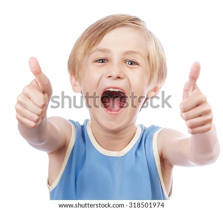 Smiling young little boy giving thumb up gesture, isolated - stock photo