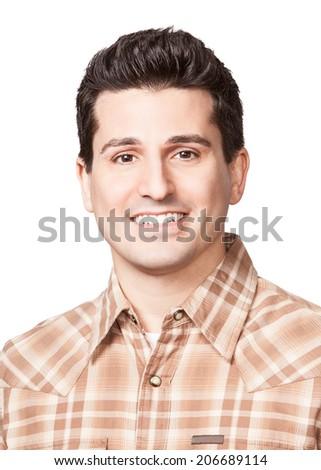 Smiling young man headshot isolated on white background  - stock photo