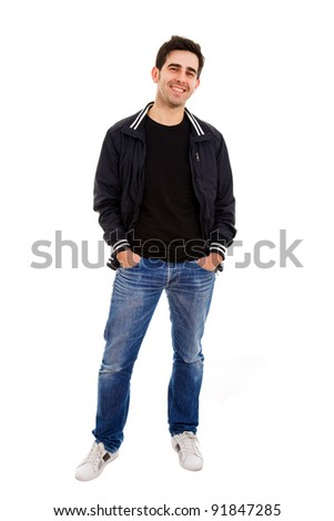 Smiling young man standing on white background - stock photo