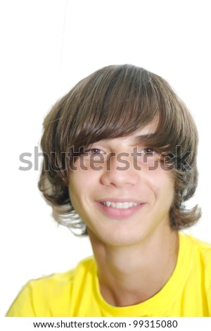 smiling young man with long curly hair on a white background - stock photo