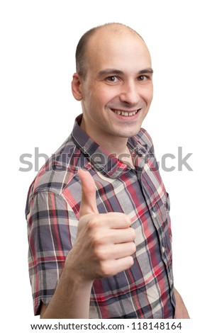 smiling young man with thumbs up isolated white background - stock photo