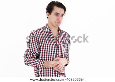 Smiling young natural student explaining isolated on white background - stock photo