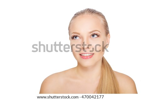 Smiling young scandinavian woman after eyelash Extension Procedure. Woman Eyes with Long Eyelashes. Lashes. Isolated.