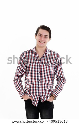 Smiling young student isolated on white background - stock photo
