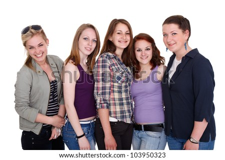 Smiling young teenager girls together, friendship