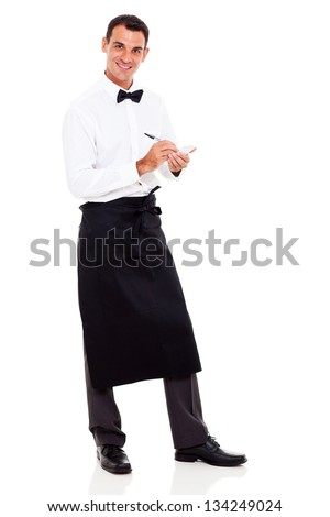 smiling young waiter taking orders