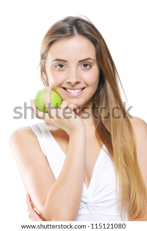 Smiling Young Woman Holding Apple - stock photo