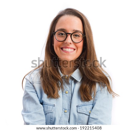smiling young woman. isolated - stock photo